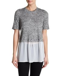BCBGeneration - Ribbed Mixed Media Twofer Tee - Lyst