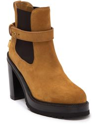 Buscemi Soho Leather Block Heel Platform Chelsea Boot - Brown