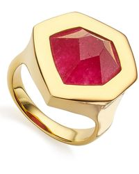 Monica Vinader 18k Yellow Gold Vermeil Pink Quartz Petra Cocktail Ring - Metallic