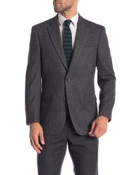 Tommy Hilfiger - Charcoal Black Herringbone Two Button Notch Lapel Classic Fit Blazer - Lyst