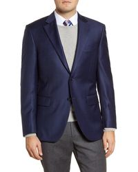 Peter Millar Classic Fit Check Wool Sport Coat - Blue
