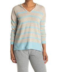 Kinross Cashmere Hooded Stripe Cashmere V-neck Sweater - Blue
