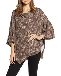 Bobeau Cozy Poncho Top - Brown
