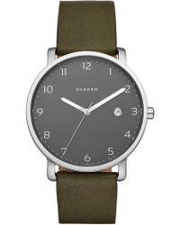 Skagen - Women's Hagen Leather Strap Watch - Lyst