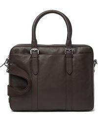 Cole Haan Smooth Leather Attache Case - Brown