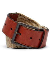 Tommy Bahama - Contrast Stitch Webbed Leather Belt - Lyst