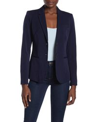 Magaschoni Long Sleeve Notch Collar Two Button Blazer - Blue