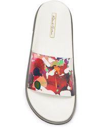 Robert Graham Monaco Leather Floral Slide - White