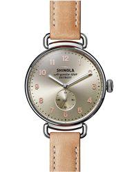 Shinola Canfield Sub Second Natural Genuine Alligator Leather Strap Watch - Metallic