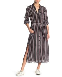 Lucky Brand Stripe Pocket Shirt Dress - Black