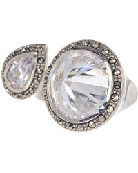 Judith Jack - Faceted Halo Set Crystal Open Ring - Size 9 - Lyst