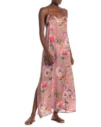 Vitamin A Bisette Floral Silk Cover-up Maxi Dress - Pink