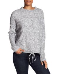 Max Studio Brushed Knit Drawstring Sweatshirt - Gray