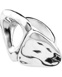 Uno De 50 Broken Heart Irregular Heart Ring - Metallic