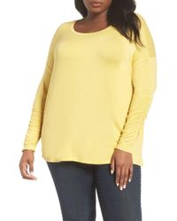 Sejour Ruched Sleeve Tee (plus Size) - Yellow