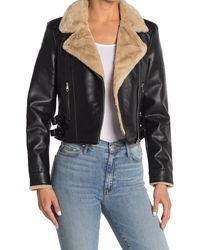 Vero Moda Ellie Rosa Faux Leather & Faux Fur Jacket - Black