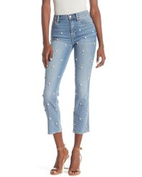 7 For All Mankind Edie High Waist Cropped Straight Jeans - Blue