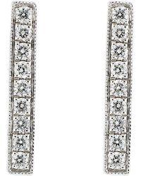 Bony Levy - 18k White Gold Diamond Bar Earrings - 0.22 Ctw - Lyst