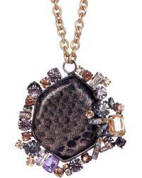 Cara - Prong Set Crystal Embellished Snake Print Pendant Necklace - Lyst
