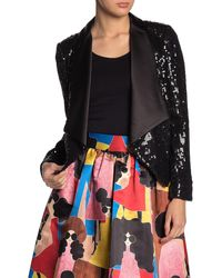 Alice + Olivia Warren Draped Sequins Blazer - Black