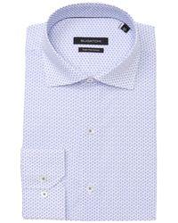 Bugatchi Patterned Long Sleeve Slim Fit Shirt - Blue