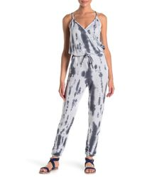 Go Couture Drawstring Waist Knit Jumpsuit - Gray