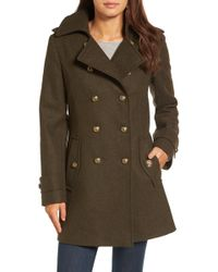 London Fog - Double Breasted Wool Blend Military Coat - Lyst