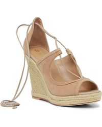 Trina Turk Lace-up Wedge Sandal - Natural