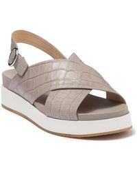Via Spiga Delila Croc Embossed Platform Sandal - Brown