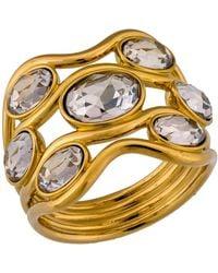 Swarovski - Gold Plated Bezel Set Crystal Ring - Size 7.25 - Lyst