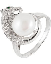 Splendid Panther 9-10mm Freshwater Pearl Ring - White