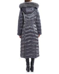 Badgley Mischka Faux Fur-trimmed Iridescent Maxi Puffer - Grey