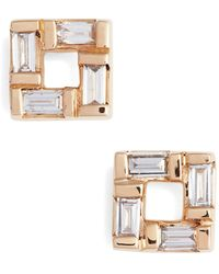 Dana Rebecca Baguette Cut Diamond Stud Earringss - 0.16 Ctw - Metallic