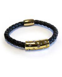 Liza Schwartz 18k Gold Plated Sterling Silver Cz Cosmo Leather Bracelet
