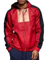 True Religion Colorblock Drawcord Windbreaker Jacket - Red
