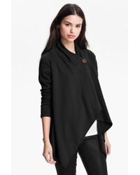 Bobeau - One-button Fleece Wrap Cardigan - Lyst
