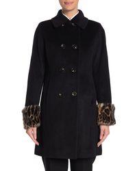 Tahari Aubrey Faux Fur Cuffed Wool Blend Coat - Black