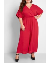 ModCloth Arrive & Thrive Wide Leg Jumpsuit - Red