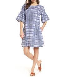 Caslon Tie Back Linen Dress - Blue