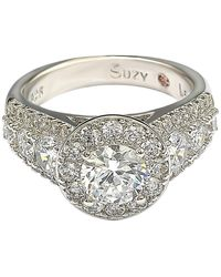 Suzy Levian Sterling Silver White Cz Engagement Ring
