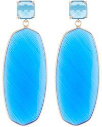 Panacea Oval Cut Stone Drop Earrings - Blue