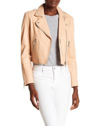 Doma Leather - Studded Cropped Biker Jacket - Lyst