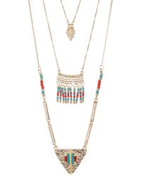 Steve Madden - Leaf Charm, Bead Fringe, & Textured Triangle Pendant 3-piece Necklace Set - Lyst