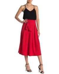 Jealous Tomato Waist Tie Pleated Midi Skirt - Red