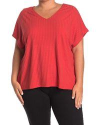 Catherine Malandrino V-neck Rib Knit Top - Red