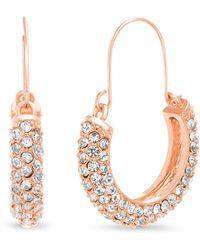 Catherine Malandrino - Crystal Embellished Rose-gold-tone Threader Hoop Earrings - Lyst
