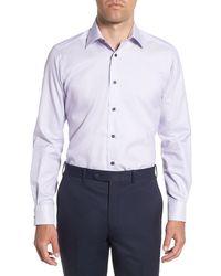 David Donahue Solid Trim Fit Dress Shirt - Purple
