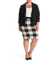 Rachel Roy Raj Buffalo Plaid Knit Pencil Skirt (plus Size) - Black