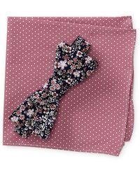 Original Penguin - Vivian Floral Bow Tie & Dot Print Pocket Square Box Set - Lyst