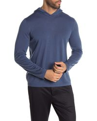 Vince Solid Pullover Hooded Sweater - Blue
